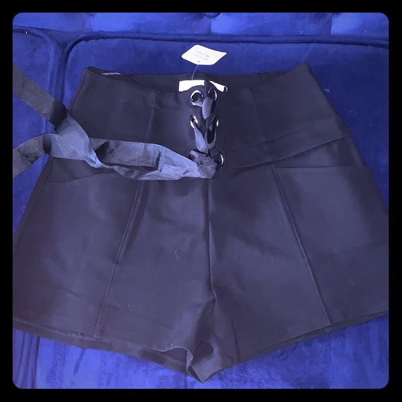 Lush Pants - NEW WITH TAGS Black Ribbon shorts ! Unique chic